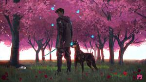 Chin Fong Digital Art Dog Doberman Pinscher Cherry Trees Cherry Blossom Sword Tattoo 1920x1081 Wallpaper