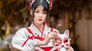 Asian Black Hair Depth Of Field Girl Kimono Lipstick Mask Woman 2048x1365 Wallpaper