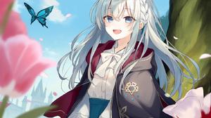 Anime Anime Girls Majo No Tabitabi Elaina Majo No Tabitabi Silver Hair Blue Eyes Butterfly Flowers A 1406x2000 Wallpaper