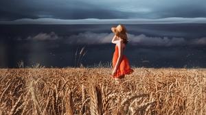 Cloud Field Girl Hat Mood Red Dress Summer Wheat Woman 2560x1877 wallpaper