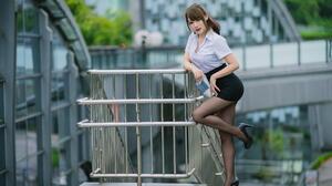 Asian Model Women Long Hair Dark Hair Depth Of Field Black Skirts Nylons Black Heels Shirt Ponytail  1920x1270 Wallpaper