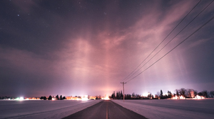 Road Winter Snow Sky Stars Lights 2981x1677 Wallpaper