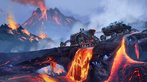 Crystal Eruption Lava Mining Mountain Steampunk Vehicle Volcano 1920x1080 Wallpaper