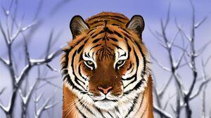 Painting Tiger Winter 1920x1080 Wallpaper