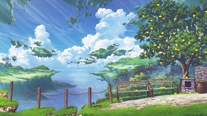 Anime Landscape Nature Sky Clouds Trees Bench 3167x1109 Wallpaper