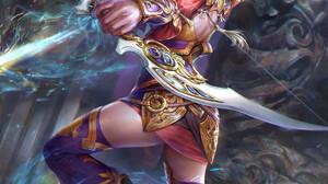 Jeremy Chong Drawing Women Blonde Archer Fighting Bow Magic Fantasy Art Shooting 1760x2200 Wallpaper