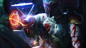 Star Wars Science Fiction Dan Luvisi Star Wars Villains Villains Bounty Hunter Boba Fett 1190x1418 Wallpaper