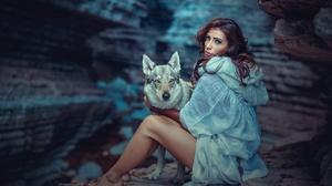 Women Model Brunette Legs Feet Wolf Cave Hips Sitting Dog 2048x1367 Wallpaper