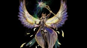 Angel Angel Warrior Magic Staff Wings 3157x2055 wallpaper
