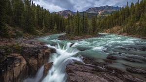 Earth Mountain River Rock Waterfall 2048x1152 wallpaper