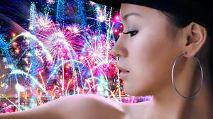 Asian Colorful Earrings Face Fireworks Hat Model New Year Oriental Profile 5120x3200 Wallpaper