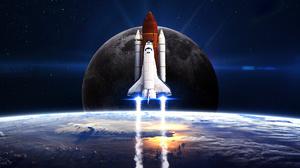 Moon Sci Fi Space Space Shuttle 5200x3250 Wallpaper