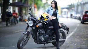 Asian Model Women Long Hair Dark Hair Sitting Biker Girl Bikes Black Top Black Pants Boots Helmet De 1920x1080 Wallpaper