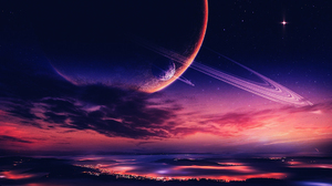 City Cloud Moon Night Planet Purple Sky Space Stars 1920x1080 Wallpaper