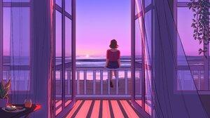 Artwork Women Beach Sea Sunset 4096x2304 Wallpaper