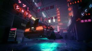 Car Cyberpunk Neon Night Vehicle 1920x1280 Wallpaper