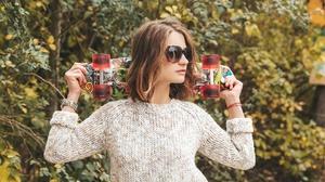 Girl Glasses Portrait Skateboard 2560x1707 Wallpaper