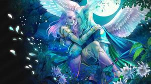 Angel Fantasy Love Moon Perfect World Pink Hair White Hair Wings 1920x1200 wallpaper