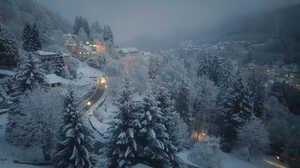 Mountain Forest Snow Village Light Night Fog 2000x1125 Wallpaper