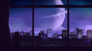 City Night Sci Fi Moon 2000x1400 Wallpaper
