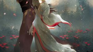 Digital Art Illustration Midfinger Geisha Oni Horns Original Characters Vertical 3704x4800 wallpaper