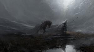 Artem Demura Dark Digital Art Fantasy Art Horse Sword Spear Mist Soldier 1920x936 Wallpaper