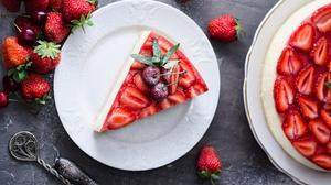 Food Fruit Berries Cake Strawberries Sweets Cherries Mint Leaves Cheesecake 2500x1655 Wallpaper