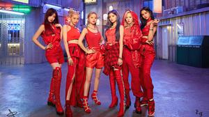 EVERGLOW K Pop Korean Women Women Music Looking At Viewer Red Clothing Makeup Korean 1920x1080 wallpaper