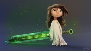 Brown Hair Child Girl Green Eyes Little Girl Sword 1920x1080 wallpaper