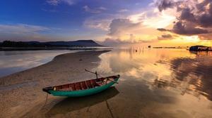 Boat Fishing Boat Scenery Sunset Vietnam 2049x1366 Wallpaper