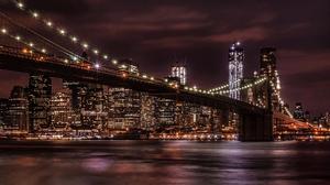 Brooklyn Bridge Light New York Night 1920x1200 Wallpaper