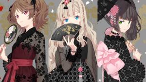 Black Hair Blonde Blue Eyes Brown Hair Fan Girl Green Eyes Kimono Pink Eyes Umbrella 1920x1200 Wallpaper
