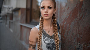 Blonde Blue Eyes Braid Depth Of Field Girl Lipstick Long Hair Model Tattoo Woman 2048x1365 Wallpaper