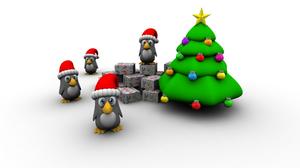 White 3d Penguin Santa Hat Gift Christmas Tree 1920x1440 wallpaper