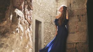 Blue Dress Brunette Girl Long Hair Model Mood 3840x2160 wallpaper