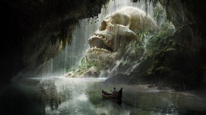 Adventure Boat Cave River Skull Waterfall 1920x1080 Wallpaper