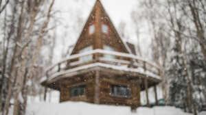 Winter Snow Cabin Forest Bokeh Depth Of Field 1500x1019 Wallpaper