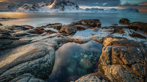 Landscape Nature Norway Island Mountains Rocks Water Clear Water Clouds 1800x1200 Wallpaper