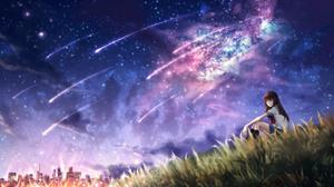 Grass Starry Sky Long Hair Brown Hair 2560x1440 Wallpaper
