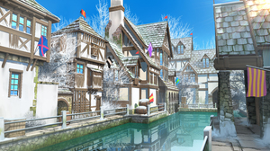 Artwork Digital Art Canal House Winter Flag Landscape 5000x2813 Wallpaper