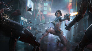 Women Science Fiction Artwork Futuristic Girls With Swords Girls With Guns Weapon Science Fiction Wo 1920x819 Wallpaper