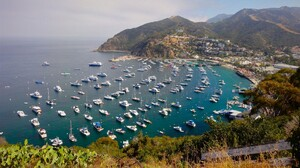Boat California Coastline Harbor Mountain Ocean Sea Town Vehicle 2880x1800 Wallpaper