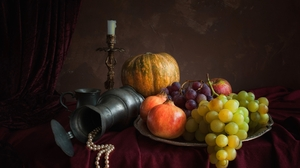 Candle Cup Fruit Gourd Grapes Pitcher Still Life 2600x1677 Wallpaper