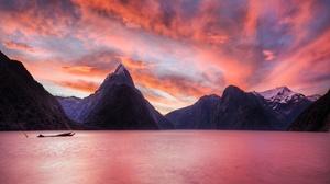 Milford Sound Mitre Peak Fjord Mountain New Zealand Nature Landscape Sky Cloud Sunset Driftwood 6877x4044 wallpaper