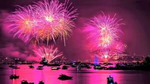 Australia Boat City Colorful Fireworks Harbor Night Pink Sydney Sydney Harbour 2560x1600 Wallpaper