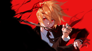 Anime Anime Girls Kurapika Hunter X Hunter Yellow Hair Red Eyes Chains Rings Tuxedo Short Hair Red B 2000x1210 Wallpaper