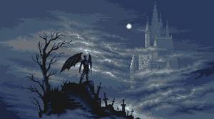 Artwork Pixel Art Castle Night Moon Clouds 1920x1080 Wallpaper