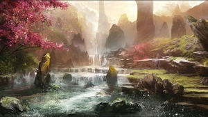 Blossom Flower Spring Waterfall 2332x1080 Wallpaper