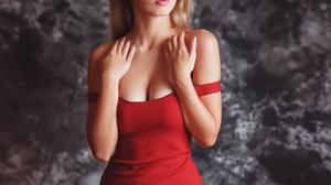 Aleksei Gilev Women Blonde Looking Away Blue Eyes Dress Red Clothing Bare Shoulders Simple Backgroun 1200x1411 wallpaper