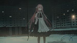 Anime Girls Gun Snow Maid Outfit Long Hair Pink Hair Night Chihuri 45 3500x1750 Wallpaper